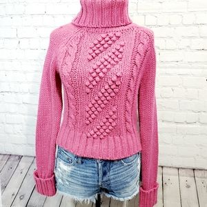 Express Merino wool pink hand knit chunky sweater
